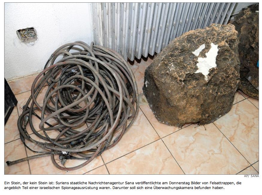 Ein Stein, der kein Stein ist: Syriens staatliche Nachrichtenagentur Sana veröffentlichte am Donnerstag Bilder von Felsattrappen, die angeblich Teil einer israelischen Spionageausrüstung waren. Darunter soll sich eine Überwachungskamera befunden haben.