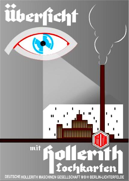 Uebersicht-mit-Hollerith Plakat-Werbung 1933_34 der Firma Dehomag für Hollerith-Lochkarten, auf denen die Volkszählung von 1933 aufbereitet und ausgewertet wurde. Quelle- Slg. G. Paul