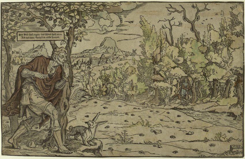Unbekannter Stecher (Niederländisch), Das Feld hat Augen, der Wald hat Ohren, 1546, Holzschnitt, koloriert. © Kupferstichkabinett, Staatliche Museen zu Berlin _ Foto- Jörg Anders